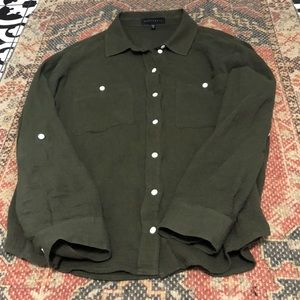 Sanctuary Dark Green Cotton Button Down